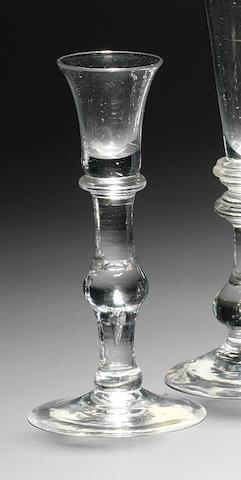 A rare baluster cordial glass circa 1725