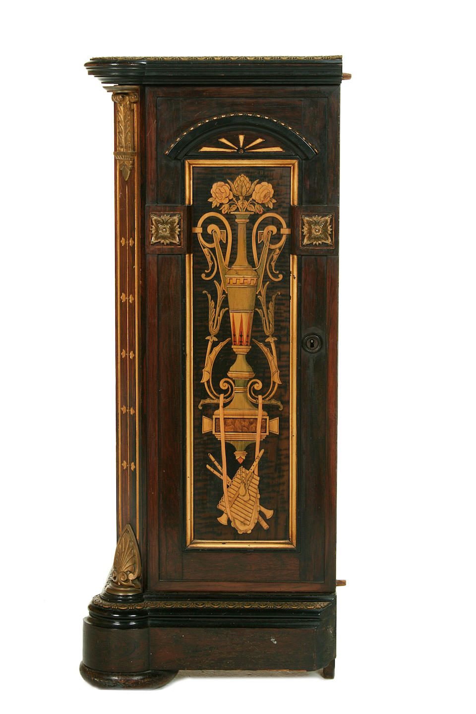 An important American late 19th century ormolu and porcelain-mounted, parcel-gilt, rosewood, tulipwood, sycamore, ebony, ebonised and marquetry upright piano by Steinway and Sons, index number 32260, New York, the cabinet work by E.W. Hutchings and Son, the painted porcelain plaques by A. Deligny, circa 1875
