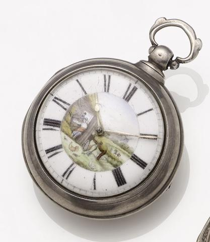 C.F.Lewns. An early 19th century silver pair case pocket watch Case and movement number 72215