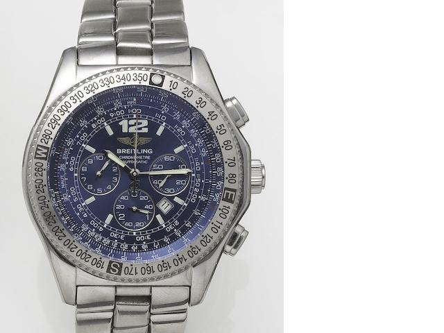 Breitling. A stainless steel automatic chronograph bracelet watch Professional B2, Sold 1st April 2000