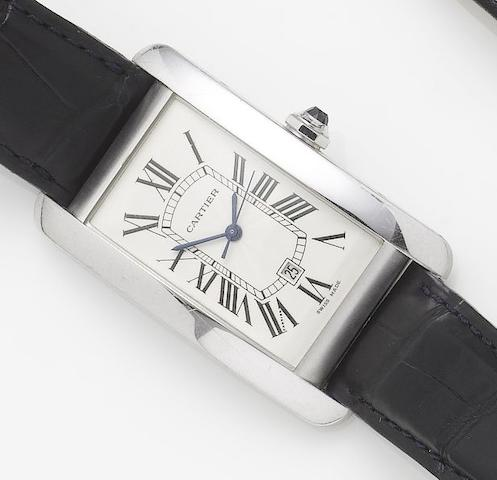 Cartier. An 18ct white gold automatic calendar wristwatch Tank Americaine, sold 25th October 2001