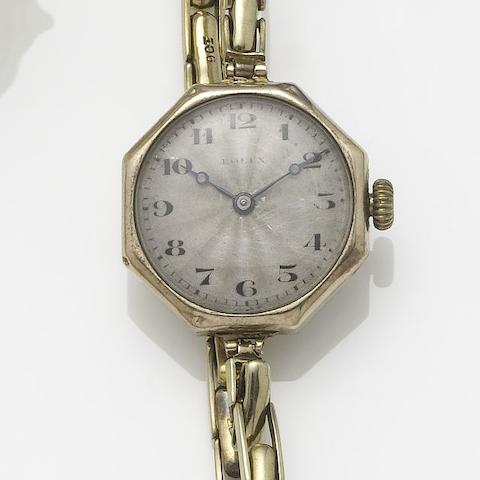 Rolex: A lady's 9ct gold octagonal-shaped bracelet watch1930's