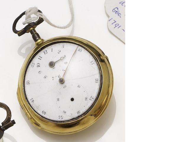 George Tight. An late 18th century gilt metal pair case pocket watch