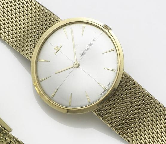 Jaeger LeCoultre. An 18ct gold manual wind bracelet watchRetailed by Mauboussin