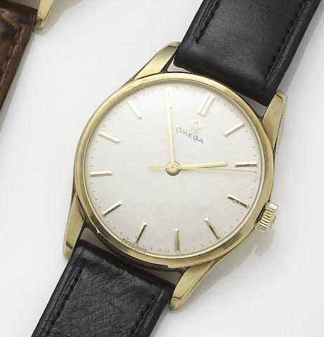Omega. A 9ct gold manual wind centre seconds wristwatch Sold September 1967