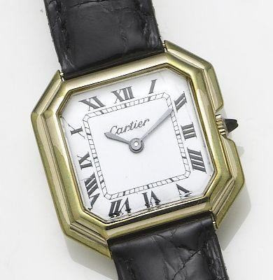 Cartier. An 18ct gold manual wind square cased wristwatch Centiure, 1980's