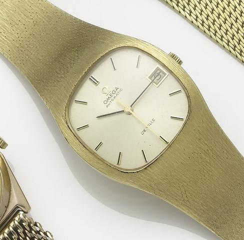 Omega. An 18ct  gold automatic calendar bracelet watch De Ville, 1970's
