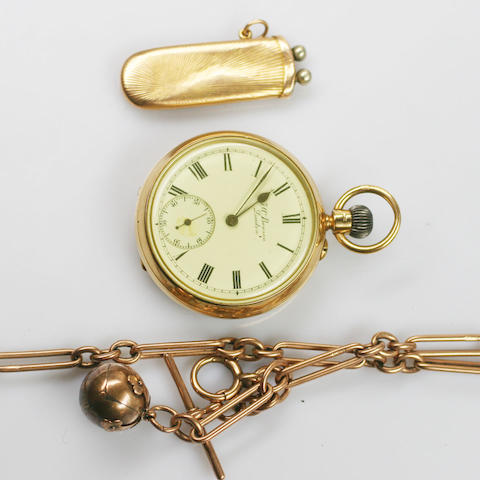 J. W. Benson: An 18ct gold open faced pocket watch,