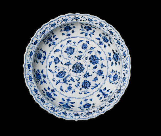 A magnificent and extremely rare blue and white barbed dish Yongle