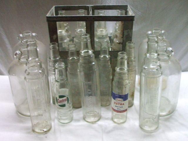 Seventeen oil bottles,
