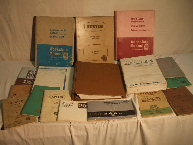 Various handbooks and workshop manuals,