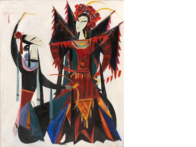 Lin Fengmian (1900-1991) Chinese Opera Series-Female Warrior of the Yangs