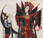 Lin Fengmian (1900-1991) Chinese Opera Series-Female Warrior of the Yangs
