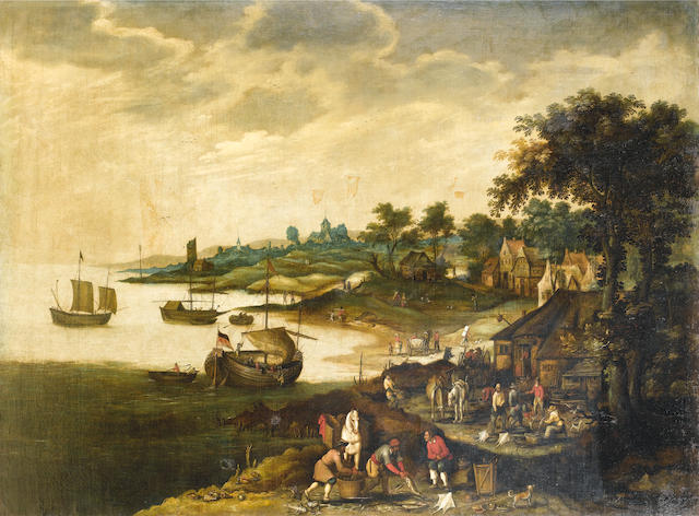 "Jan Wildens ""Landscape with a marine scene""   ""landscape with hunters"" oil on canvas 113x151 cm"