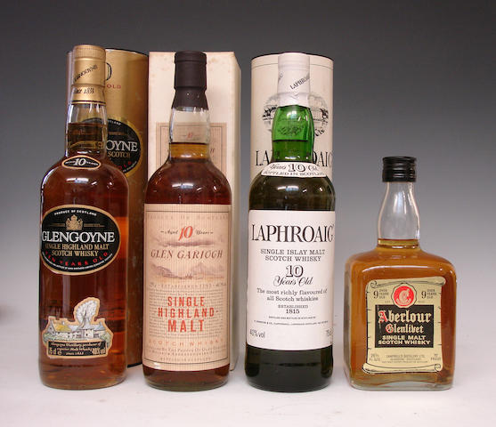 Glengoyne-10 year old  Glen Garioch-10 year old  Laphroaig-10 year old  Aberlour-Glenlivet-Over 9 year old