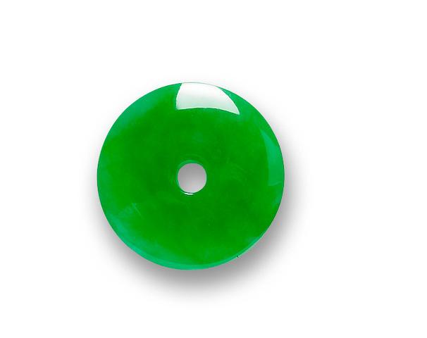 A jadeite hoop pendant