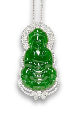A jadeite Guanyin pendant