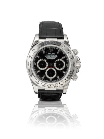 Rolex. A very fine 18ct white gold chronograph automatic wristwatch Daytona, Ref: 116519, Serial no.U868447, Circa 1998