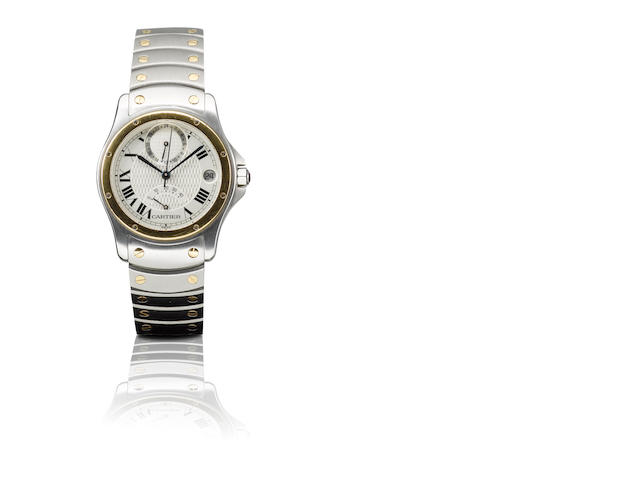 Cartier. A fine 18ct gold and stainless steel limited edition automatic wristwatch with power reserve GMT and calendar LC, Case No. 0138/1847, Circa 1997