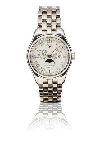 Patek Philippe.  A fine and rare 18ct white gold automatic annual calendar moon phase wristwatch Ref: 50361/G, Movement number: 3143085, Circa 2005