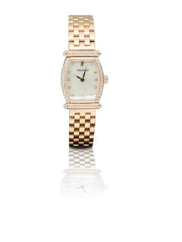 Audemars Piguet. A fine 18ct rose gold and diamond manual wind ladies wristwatch Carnegie, Case No. D70518, Circa 1980s