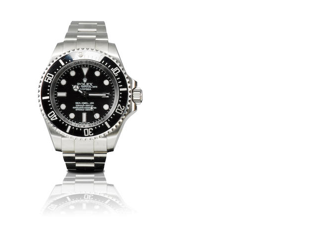 Rolex. A fine stainless steel automatic divers wristwatch Oyster Perpetual Date Deepsea, Sea-Dweller 12800ft=3900m, Ref: 116660, Case no. M646108, Circa 2008