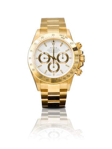 Rolex. A very fine 18ct yellow gold chronograph automatic wristwatch Daytona, Ref: 16528, Serial No.W120797, Circa 1996