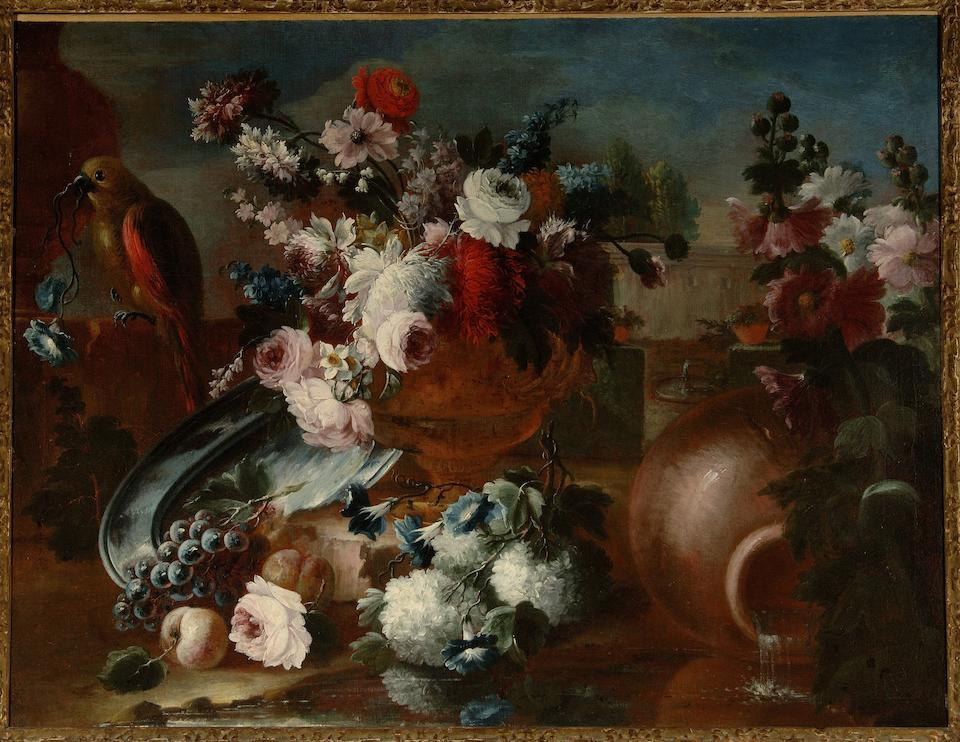 Francesco Lavagna (active Naples, 18th Century) Roses, convolvulus, snowballs and other flowers in an urn with a parrot, a park landscape in the distance; and An urn filled with convolvulus, roses and other flowers (2)
