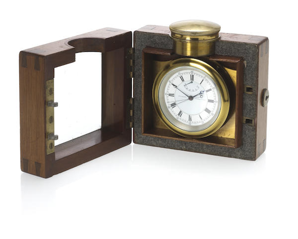 Victor Kullberg. A fine and rare free sprung pocket chronometer deck watch with split seconds and 30 hour power reserve in a fitted mahogany lockable box made for Major Rivers, August 14th 1923V.Kullberg, Liverpool Road, London. Movement No.9563