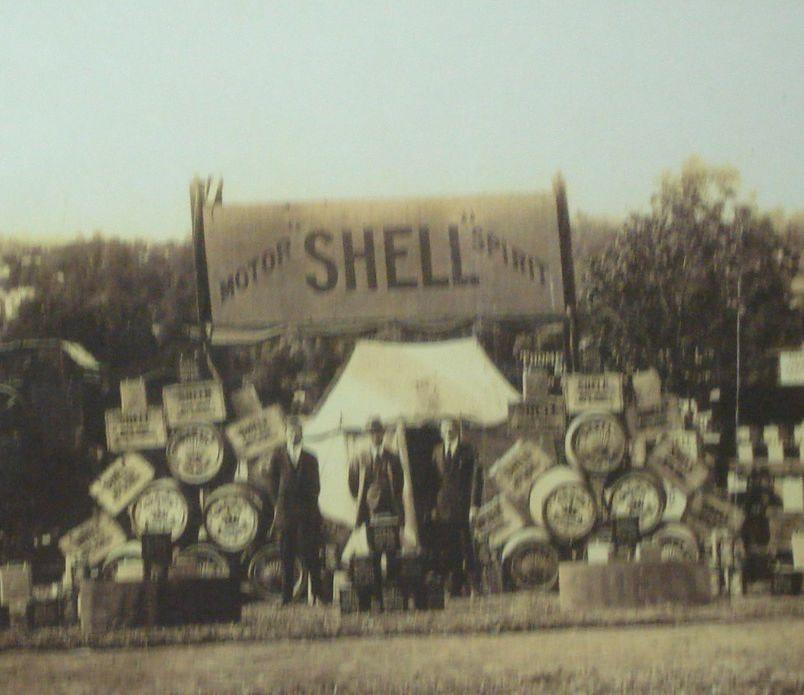 Three images of Shell exhibition displays,