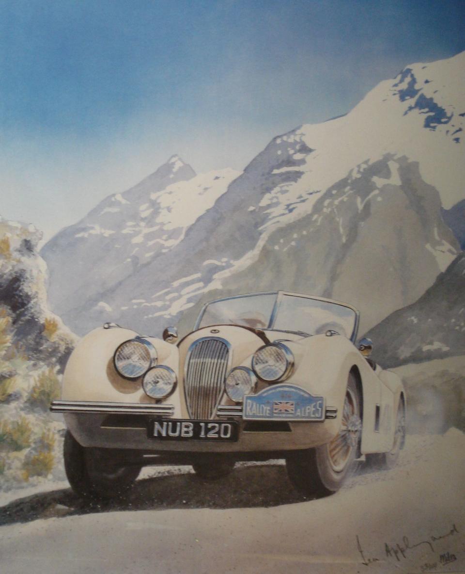 A signed print of 'Ian Appleyard's Jaguar XK120' after Miles,