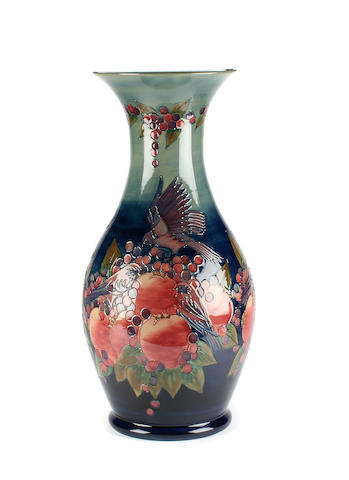 An impressive Moorcroft 'Finches and Pomegranates' pattern vase by sally Tuffin  Dated 1991