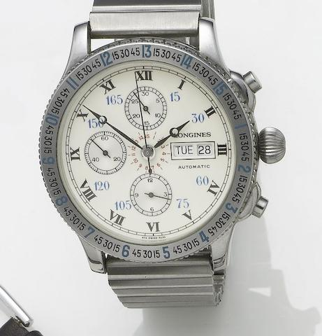 Longines. A stainless steel automatic chronograph calendar bracelet watch, designed by Charles Lindbergh