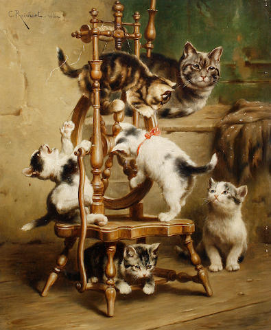 Carl Reichert (Austrian, 1836-1918) Kittens playing on a spinning wheel