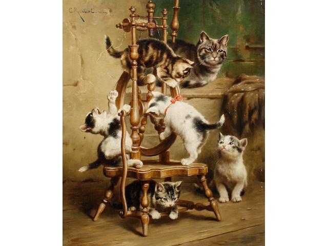 Carl Reichert (Austrian, 1836-1918) Kittens playing on a spinning wheel