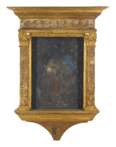 An Italian 16th Century carved, polychromed and parcel gilt tabernacle frame