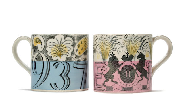 Two Eric Ravilious commemorative Wedgwood mugs