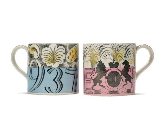 Two Eric Ravilious commemorative Wedgwood mugs