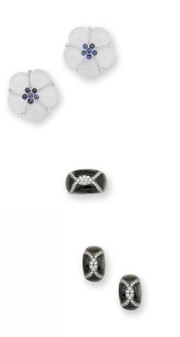 A mother-of-pearl and diamond ring and earring suite by Adler and a pair of sapphire and chalcedony earrings (3)