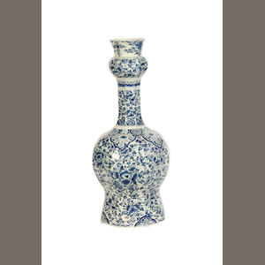 A Dutch Delft blue and white pottery double gourd vase possibly 17th century
