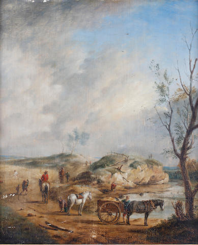 Follower of Philips Wouwerman (Haarlem 1619-1668) Landscape with figures, horses and carts