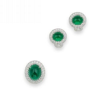 An emerald and diamond ring and earring suite (2)