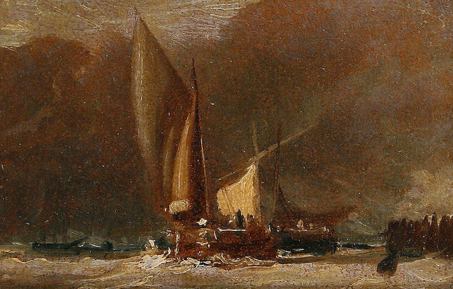 Follower of John Constable, RA (British, 1776-1837) Fishing boats off shore
