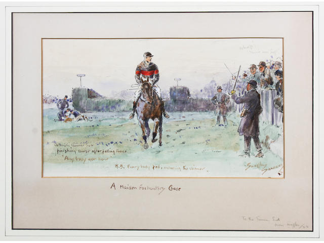 Charlie Johnson Payne, 'Snaffles' (British, 1884-1967) 'A Maiden Foxhunters Chase' 26 x 35cm overall In a later mount and an old oak frame.
