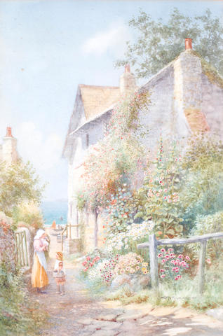 Arthur Stanley Wilkinson (British, circa 1860-circa 1930) Woman and child on a path by a seaside cottage
