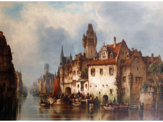 Ludwig Hermann (German, 1812-1881) A Continental canal scene