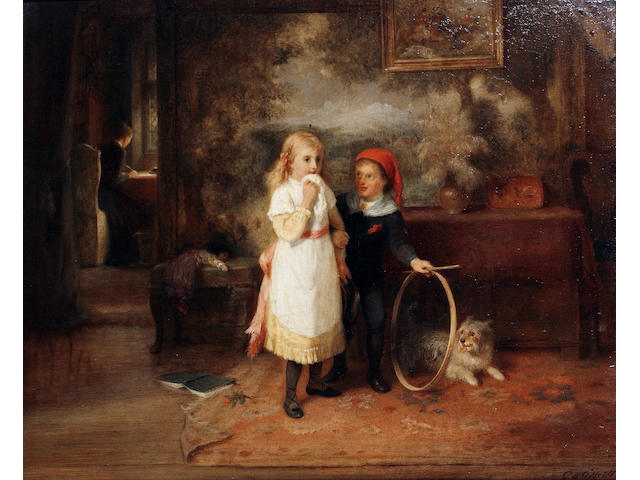 "George Bernard O'Neill (British, 1828-1917) ""Let's play!"""