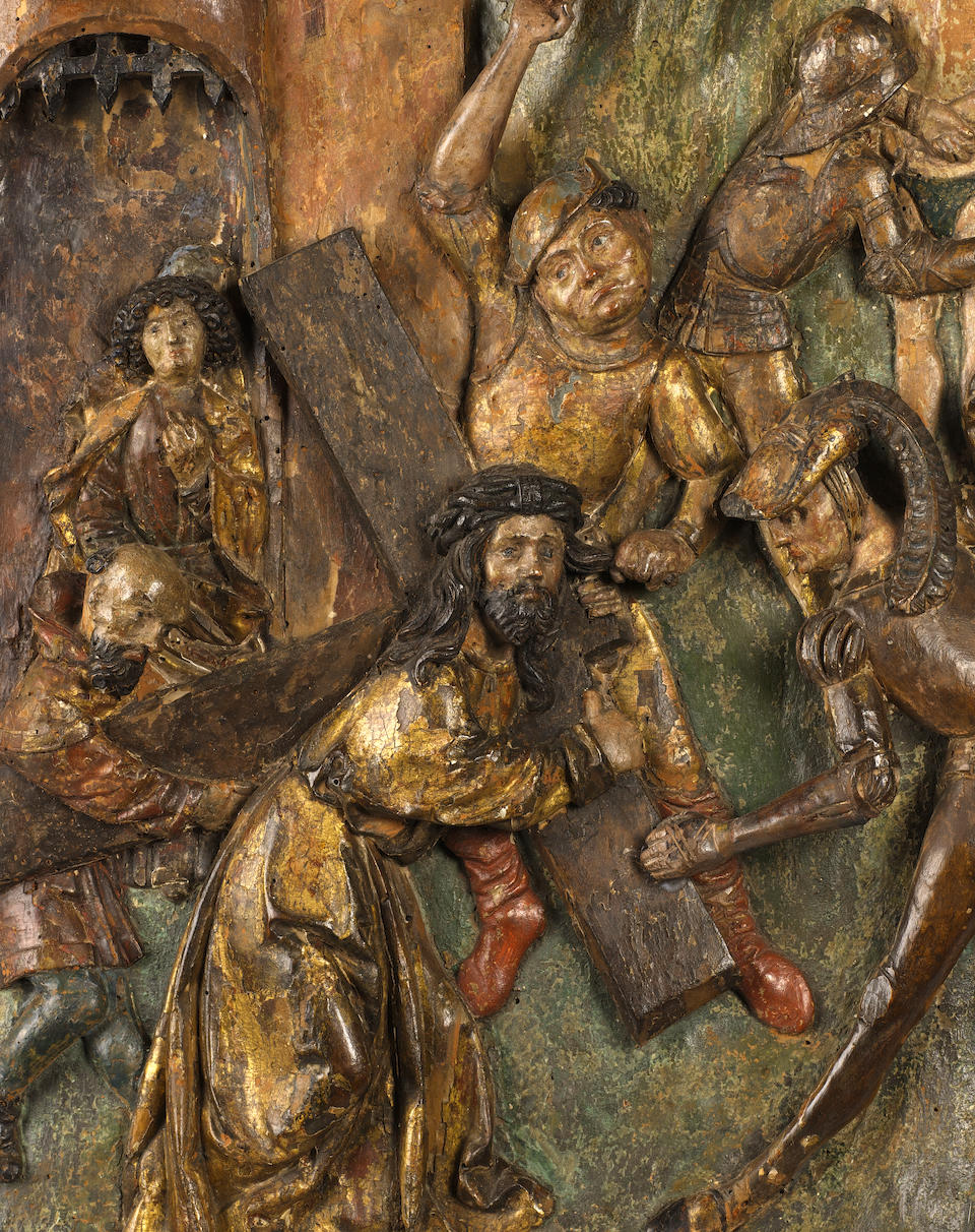 A late Medieval / Early Renaissance South German carved wood and polychrome decorated relief panel depicting Christ on the road to Calvarycirca 1500-1520