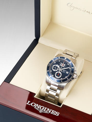 Longines. A stainless steel automatic chronograph Divers watch with box and papers Hydro Conquest Divers, Ref:3.644.4, Case No.34011045, Sold 23 December 2007