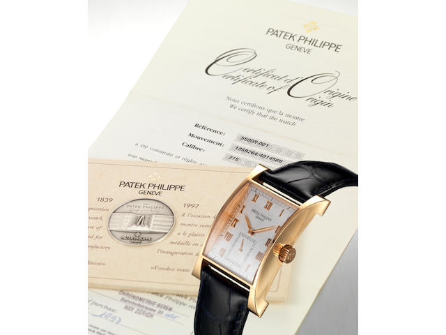 Patek Philippe. A fine and rare limited edition 18ct pink gold rectangular-shaped wristwatch with Patek Philippe box and papersPagoda, Ref:5500R, Case No.4014566, Movement No.1859264, Made in 1997